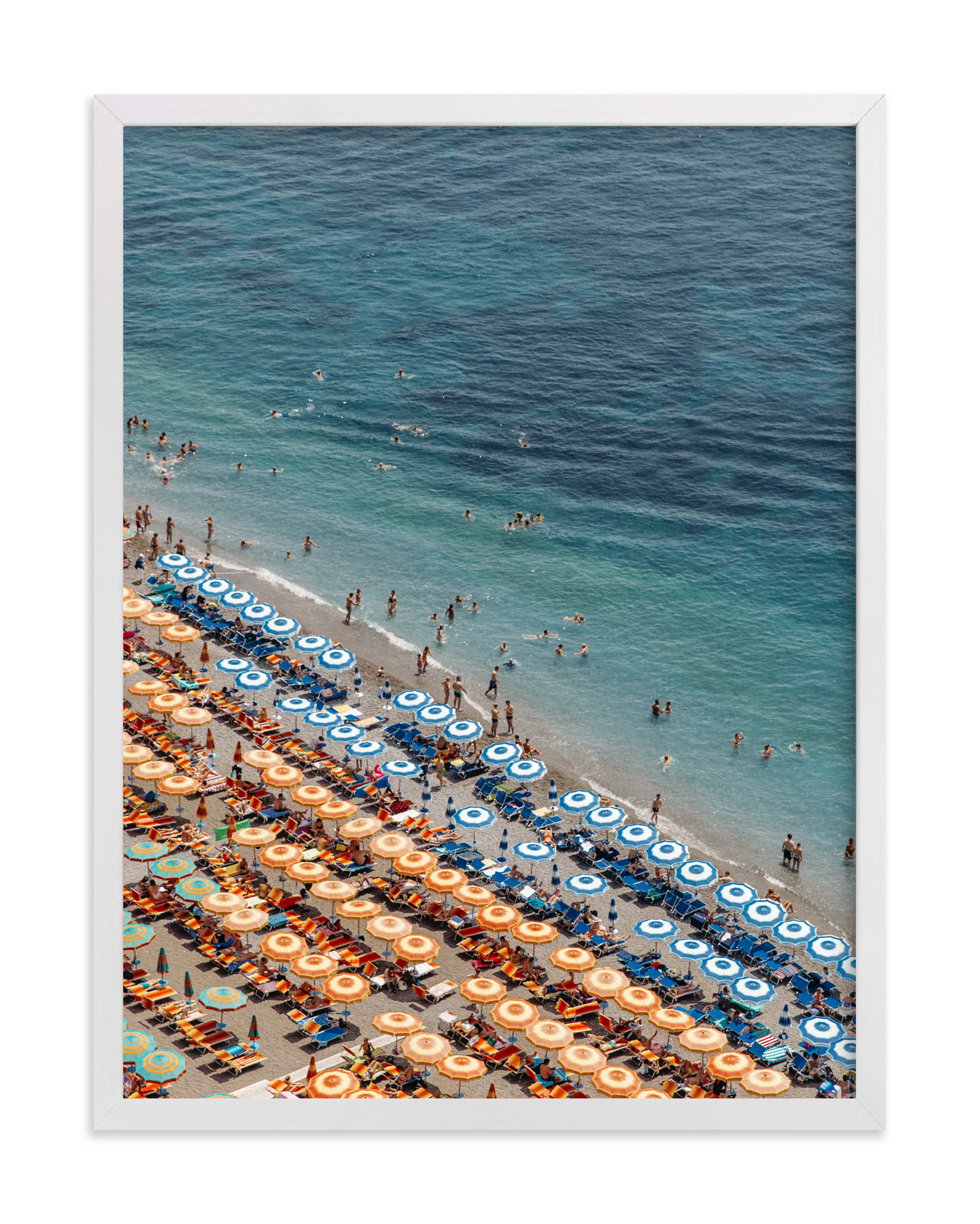 """""""Positano Beach Aerial"""" - Grownup Open Edition Non-custom Art Print by braden.studio in beautiful frame options and a variety of sizes."""