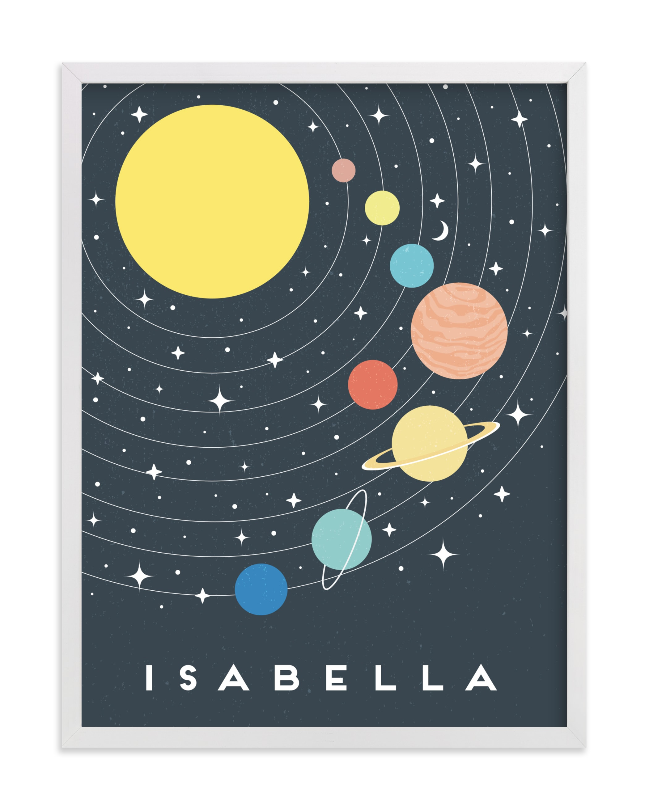 Pastel Solar System Children's Custom Art Print