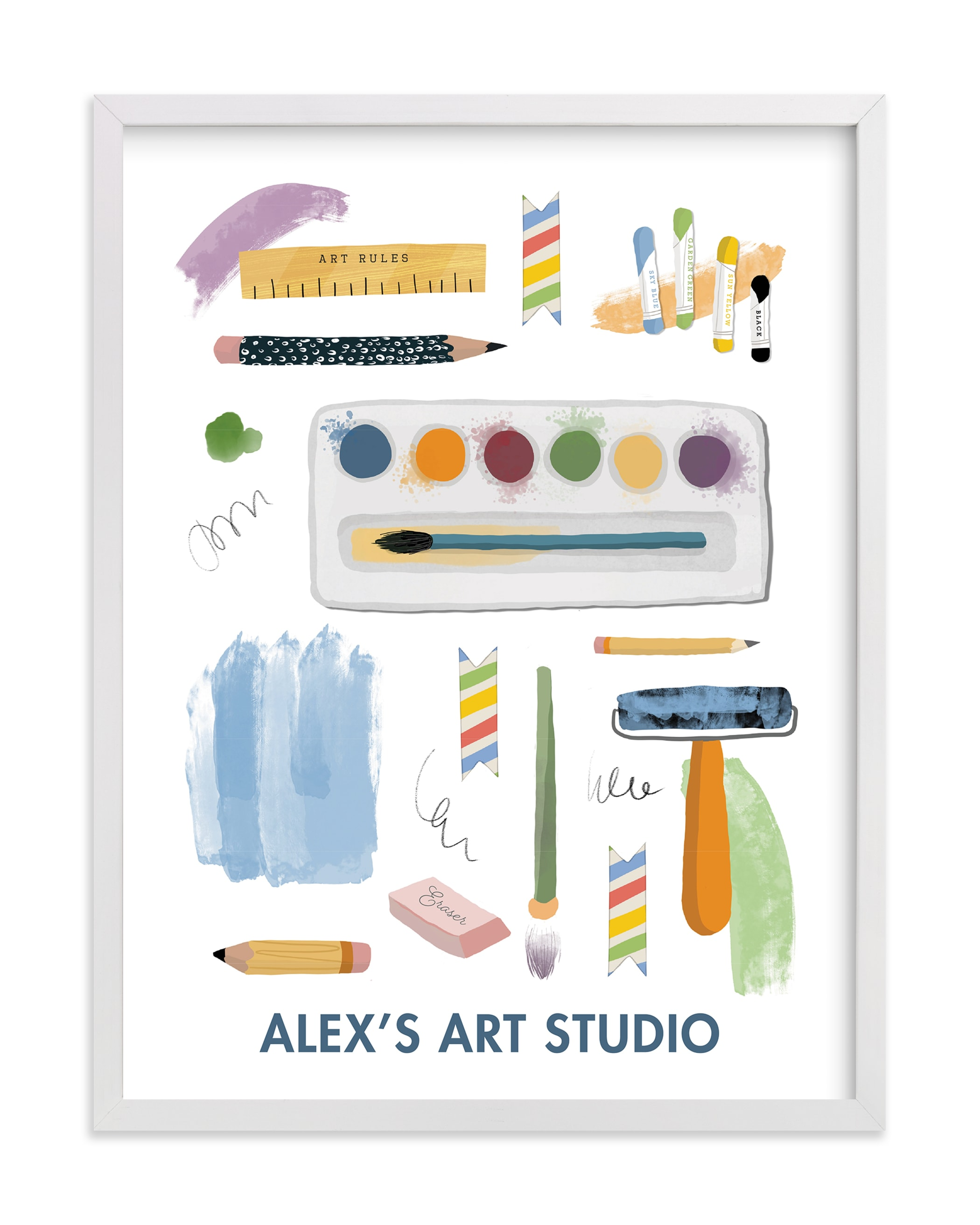"""Creative Tools"" - Children's Custom Art Print by Naava Katz in beautiful frame options and a variety of sizes."