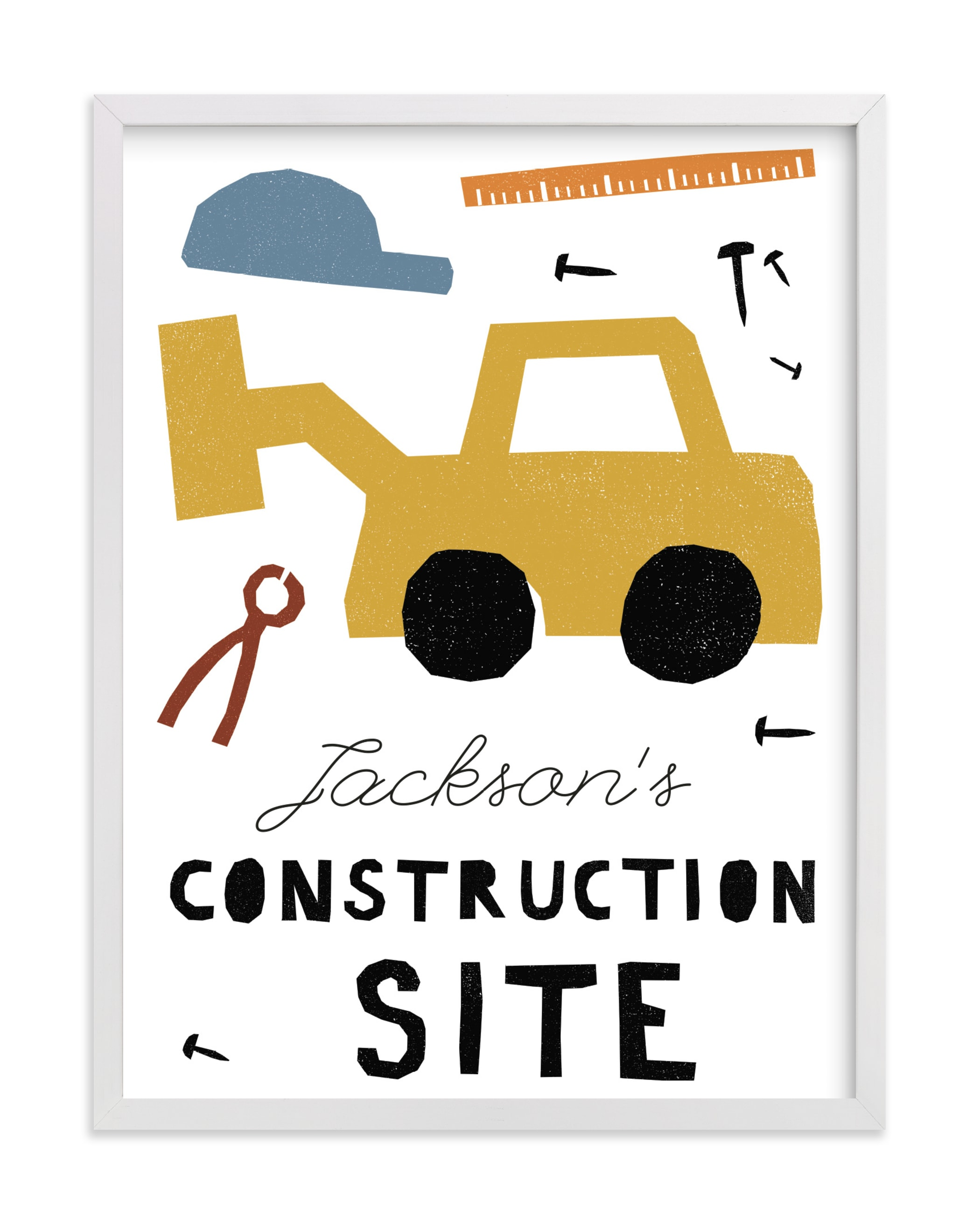 """""""construction site"""" - Children's Custom Art Print by Sumak Studio in beautiful frame options and a variety of sizes."""