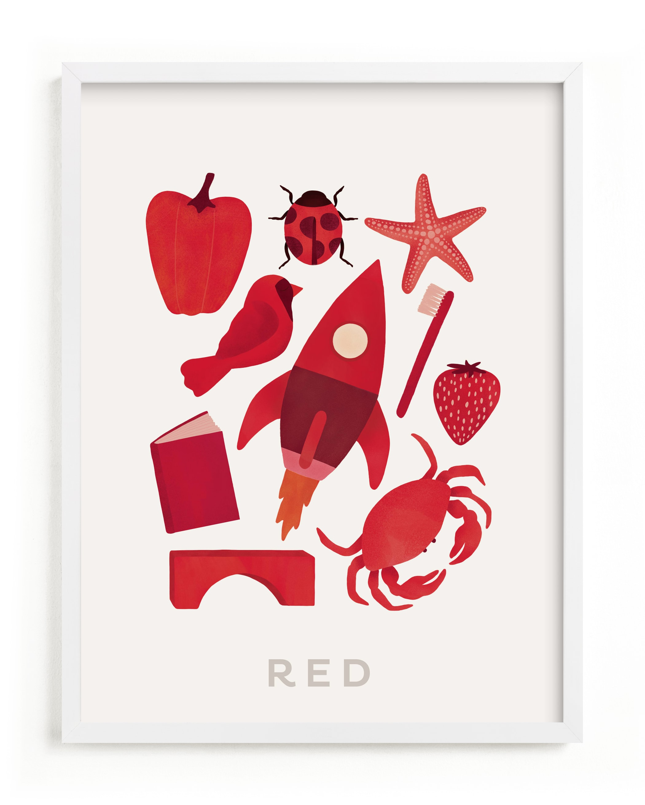 """""""Ten Red Things"""" - Limited Edition Art Print by Ana Peake in beautiful frame options and a variety of sizes."""