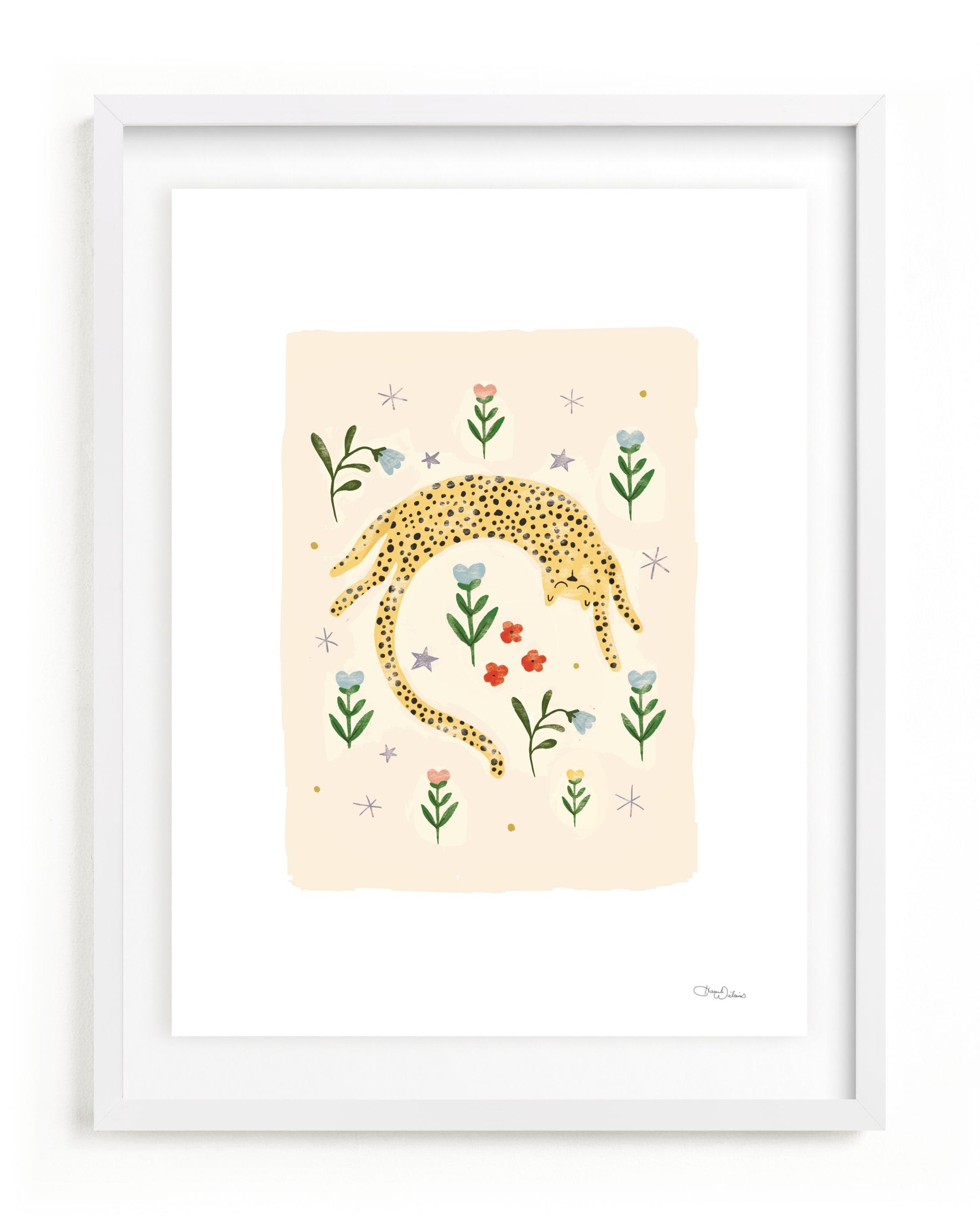 tumbling cheetah Children's Art Print