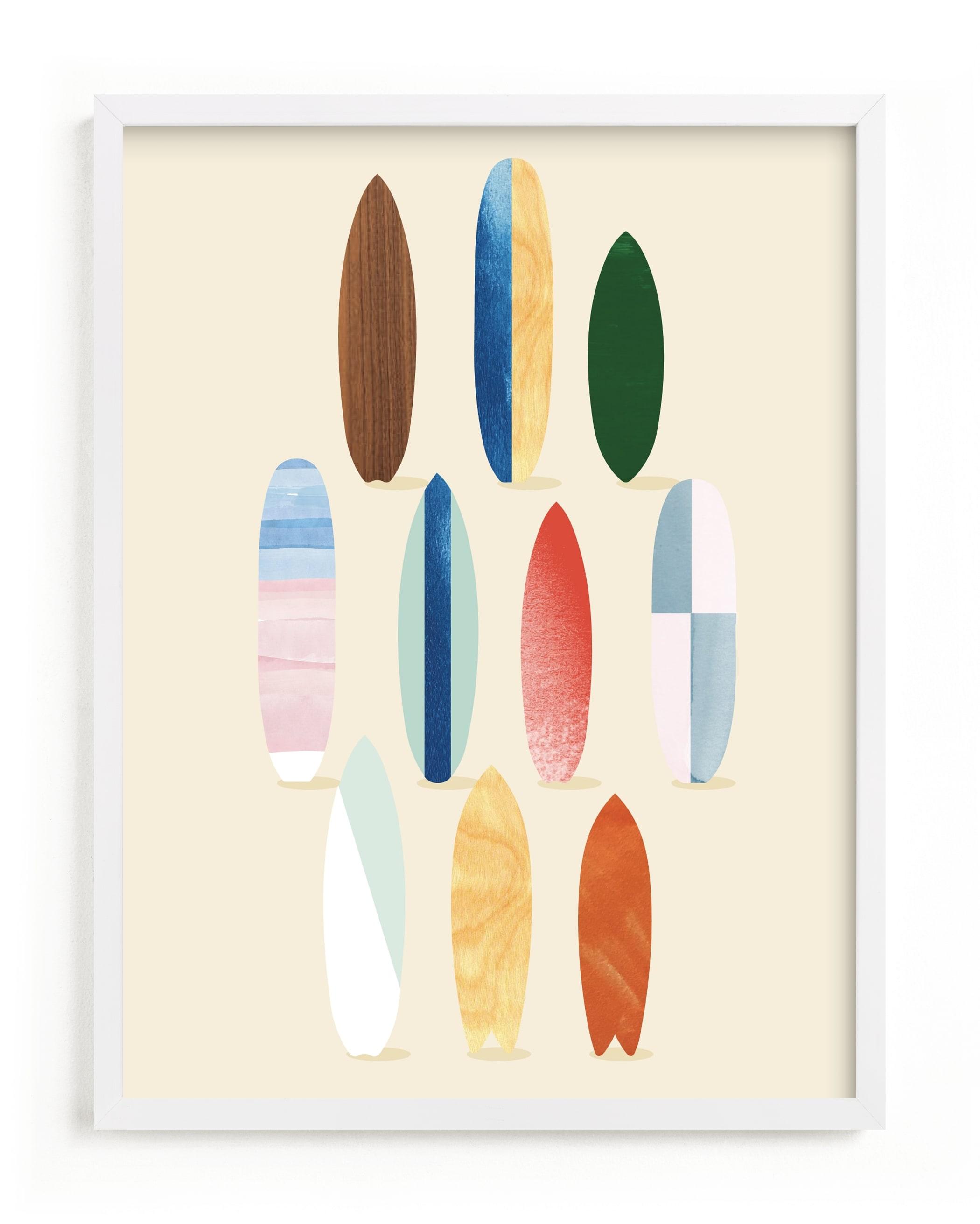 Surfboard Pose Children's Art Print