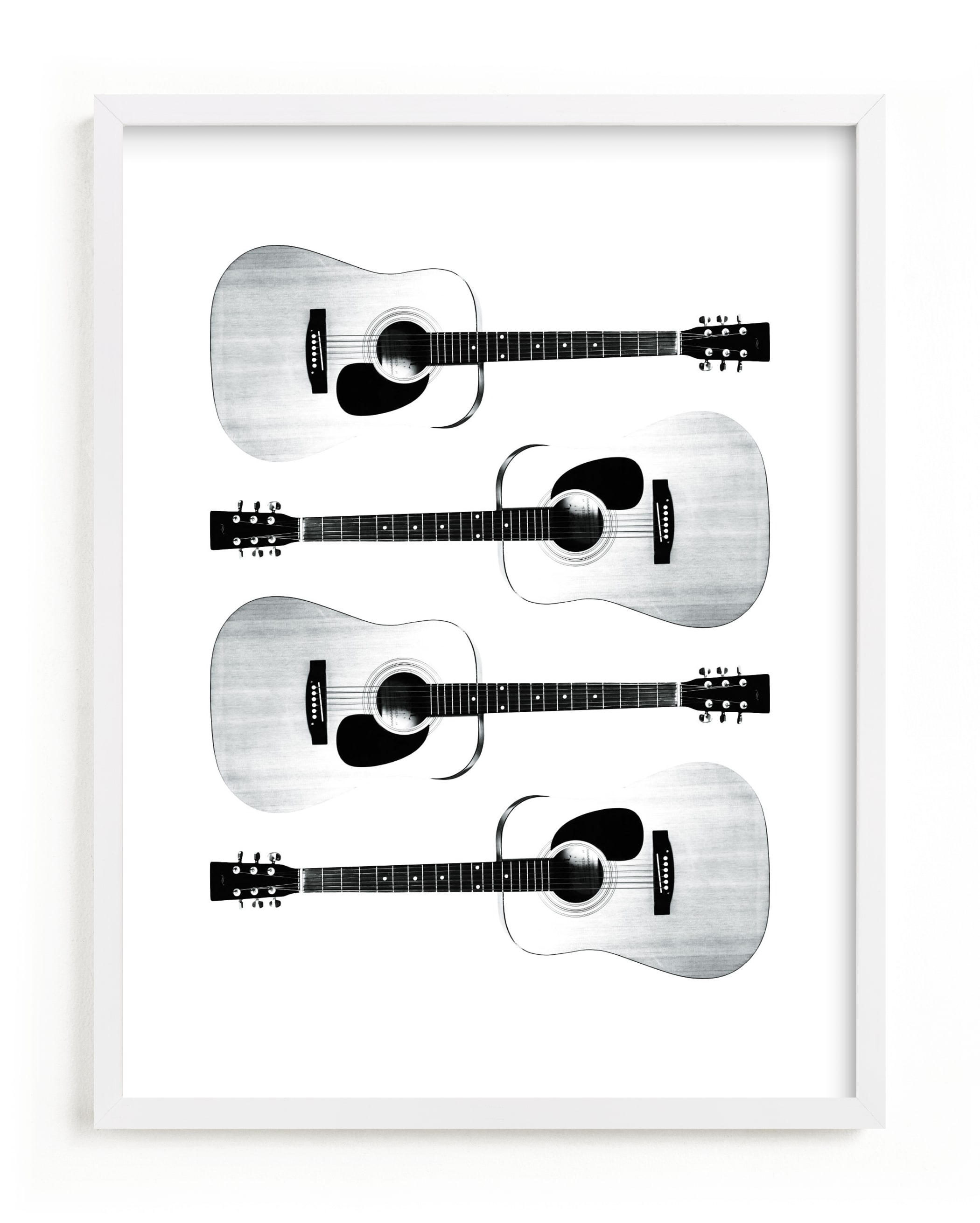 This is a black and white kids wall art by heathered called This Old Guitar.