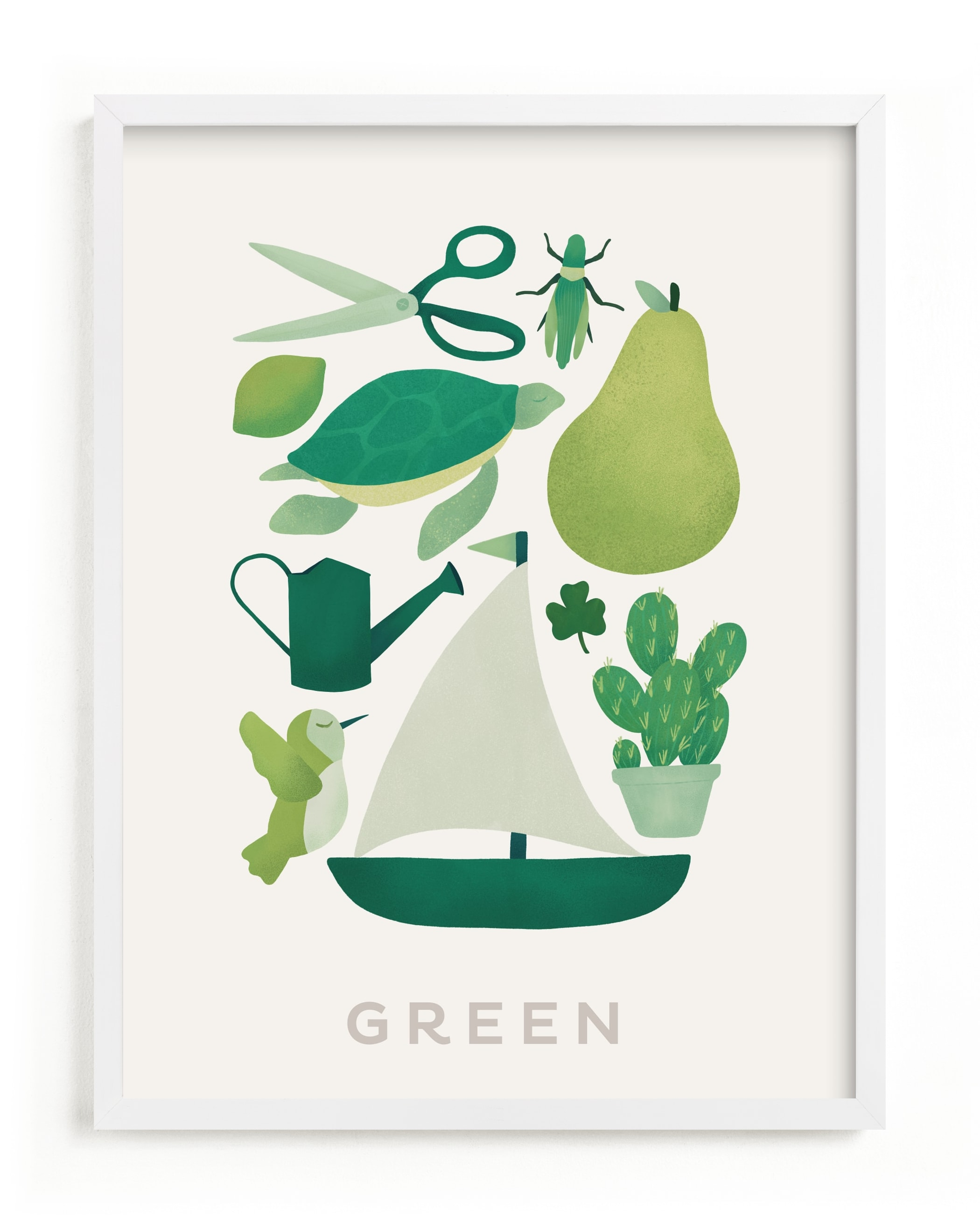 """""""Ten Green Things"""" - Limited Edition Art Print by Ana Peake in beautiful frame options and a variety of sizes."""