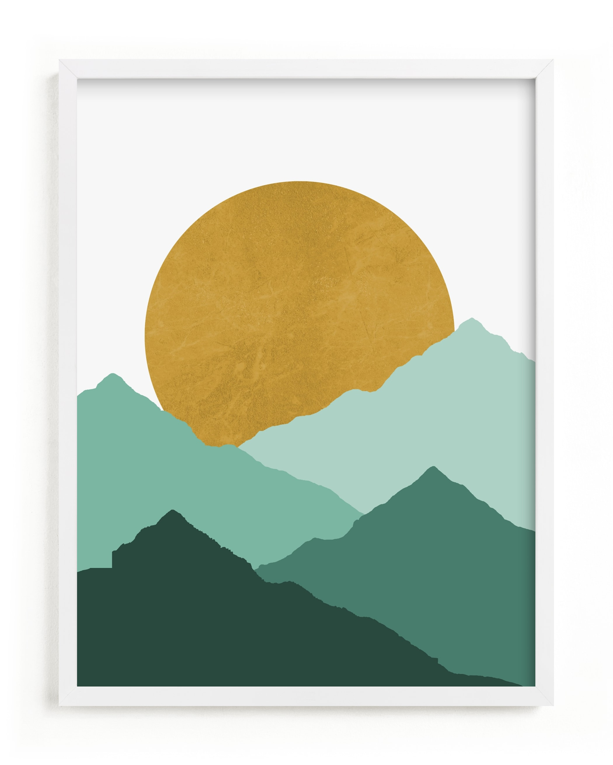 This is a green kids wall art by Sudevi Sen called Mountain Love.