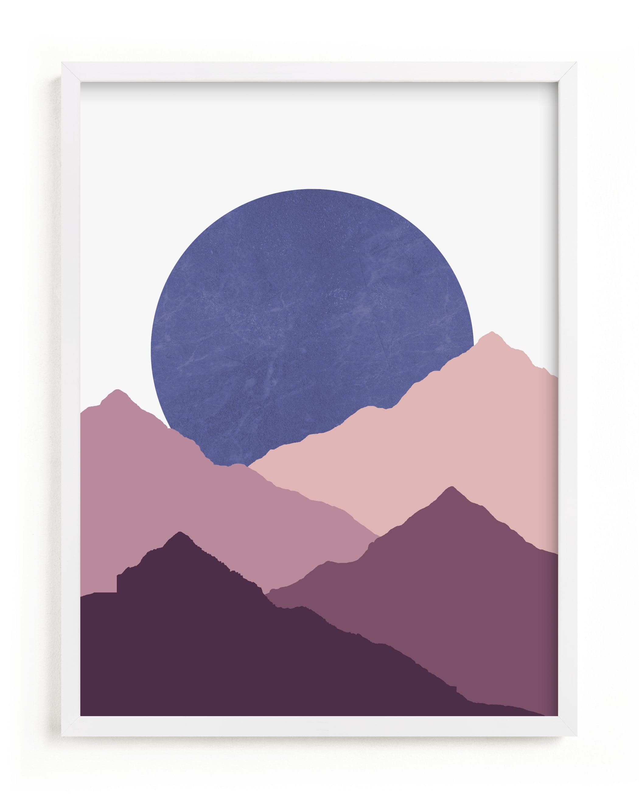 This is a purple kids wall art by Sudevi Sen called Mountain Love.