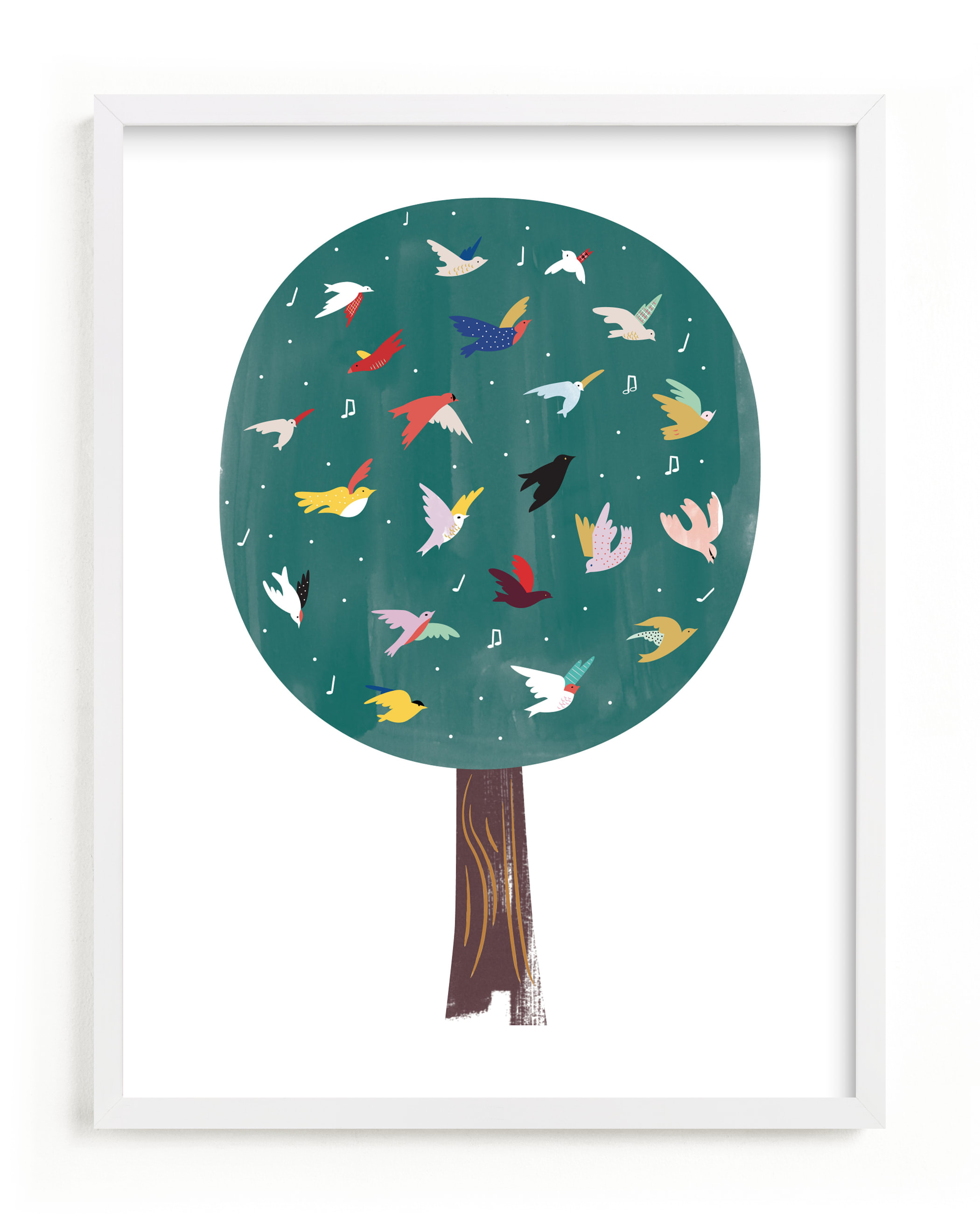 """Lots of Songbirds"" - Limited Edition Art Print by Eve Schultz in beautiful frame options and a variety of sizes."