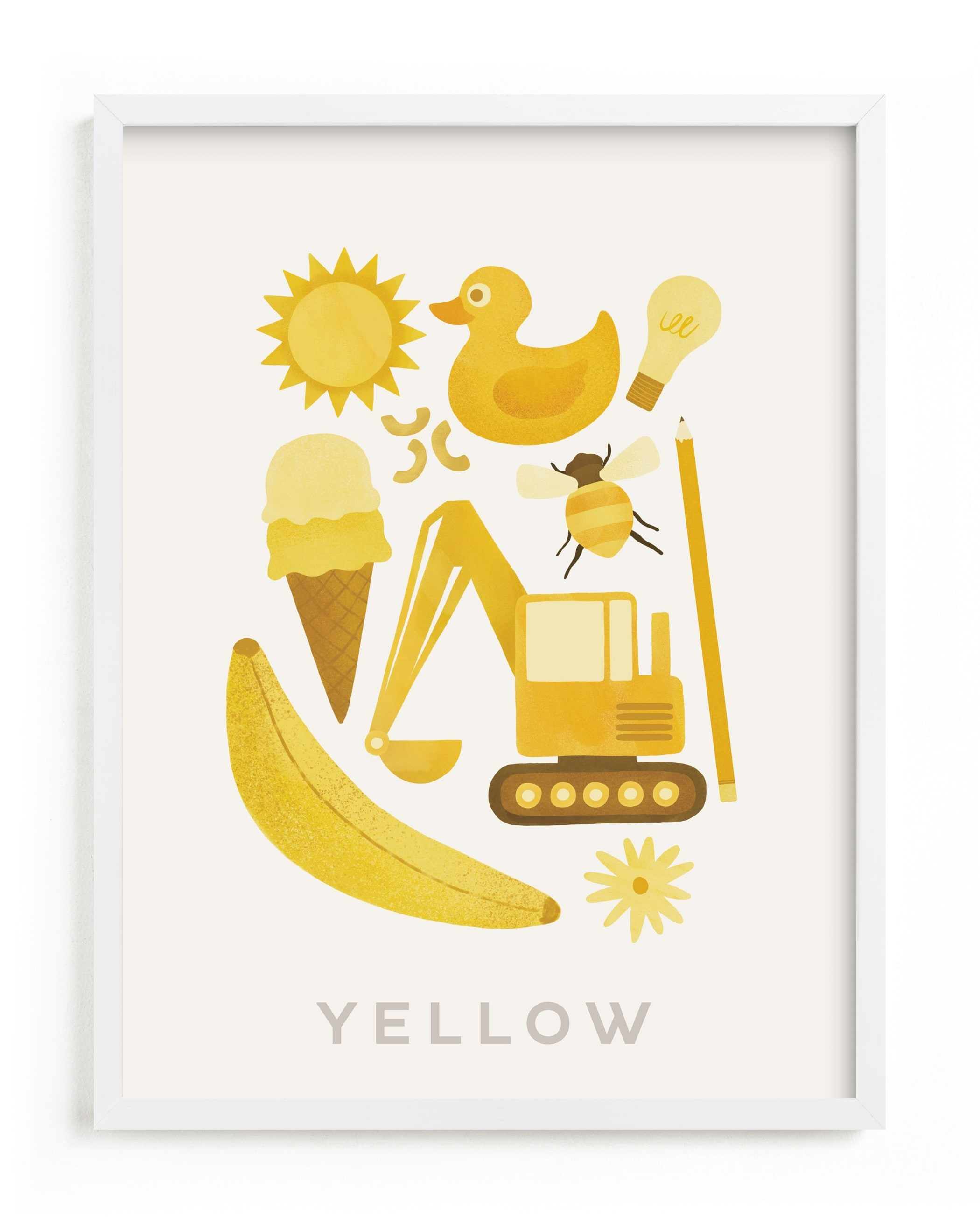 This is a yellow kids wall art by Ana Peake called Ten Yellow Things.