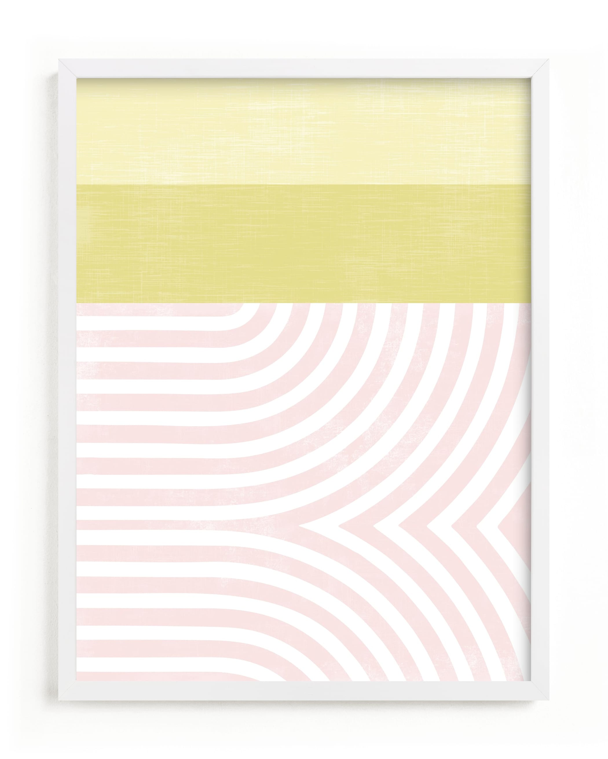 This is a pink kids wall art by Tanya Lee Design called Curve Appeal VI.