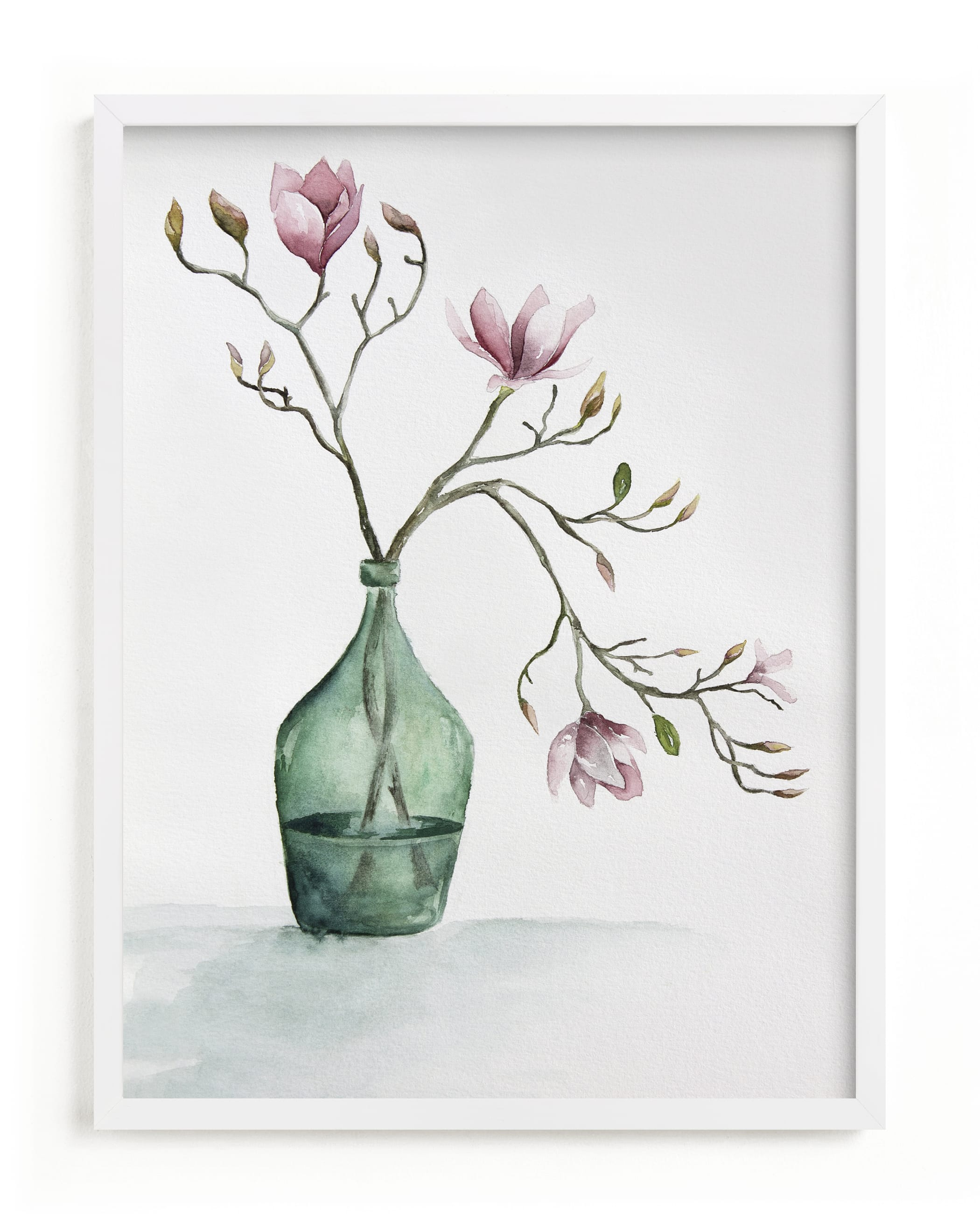 """""""Magnolia in Green Vase"""" by Karen Kaul in beautiful frame options and a variety of sizes."""