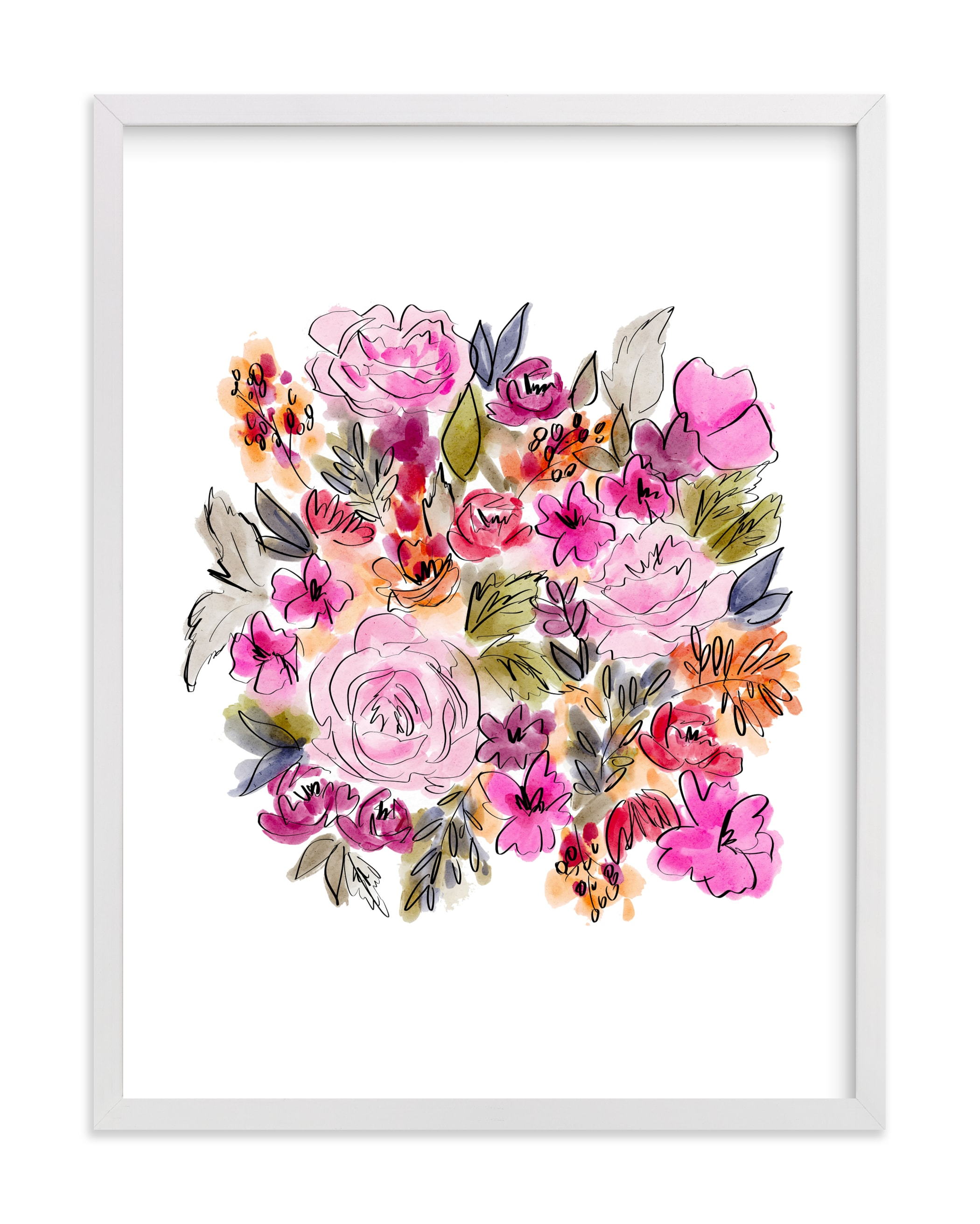 """""""Happy Blooms"""" by Britt Mills in beautiful frame options and a variety of sizes."""