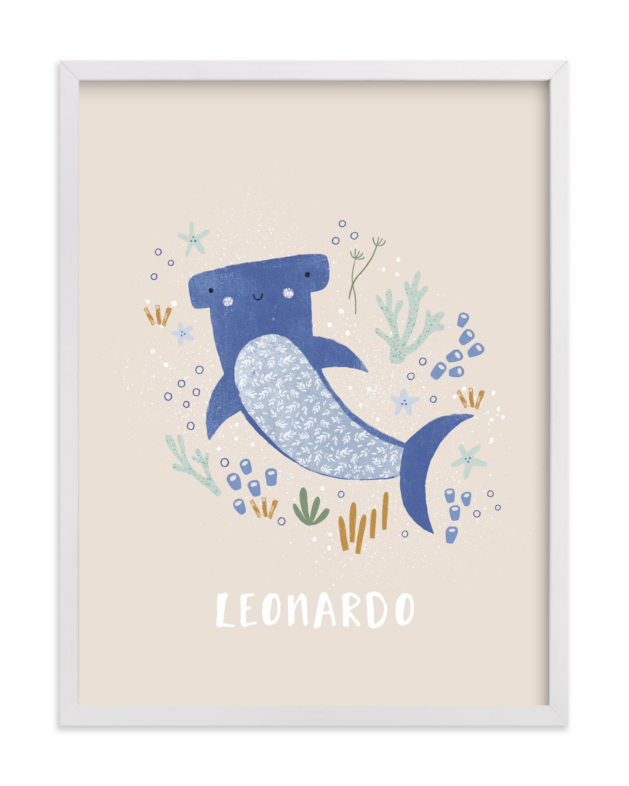 """""""Sharky cute"""" - Nursery Custom Art Print by Tati Abaurre in beautiful frame options and a variety of sizes."""