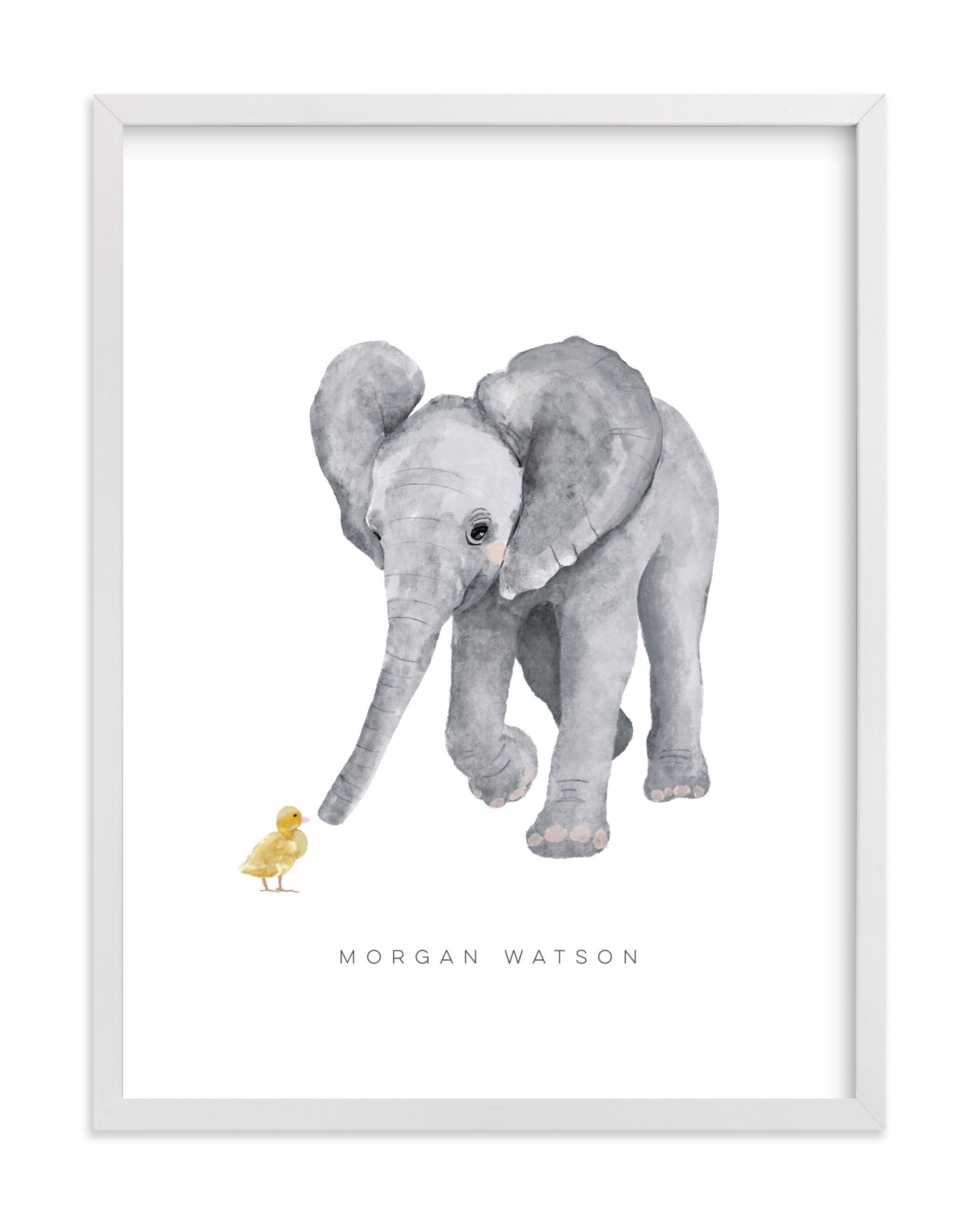 baby elephant and duckling Nursery Custom Art Print