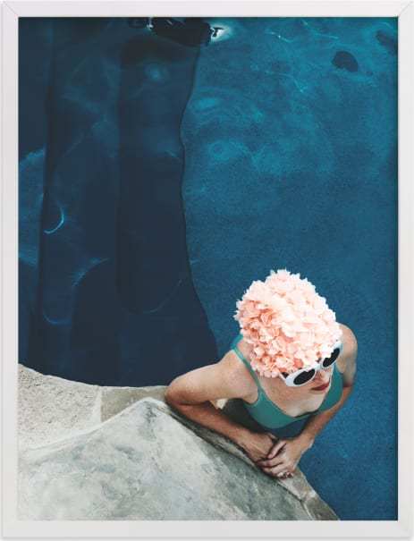 This is a blue art by Alicia Abla called lady in a swim cap.