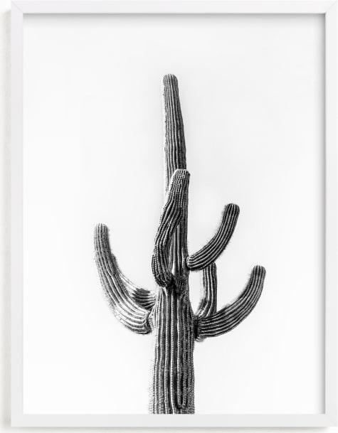 This is a white art by Ellen Schlegelmilch called Lone Cactus.