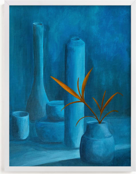 This is a blue art by Michel Villalpando called The Leaf.