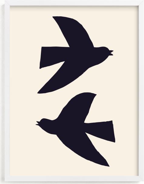 This is a blue art by Alexandra Dzh called Birds.