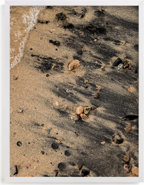This is a white art by Karly Rose Sahr called Black Sand III.