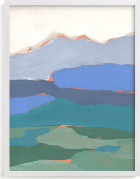 This is a blue art by Candace Wiant called Peaks and Valleys.