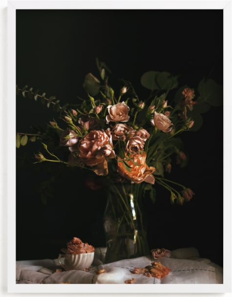 This is a pink art by Katie Buckman called Moody Floral Still Life.