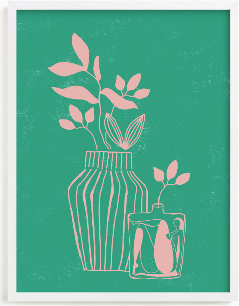 This is a pink art by Lo Mead called Stuck In A Vase.