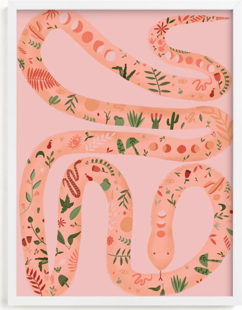 This is a pink art by Juliana Moreira-Callahan called Folk Floral Snake.