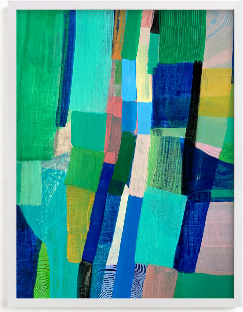 This is a blue art by Poppy Dodge called Tomales Road: Aerial Pastures.
