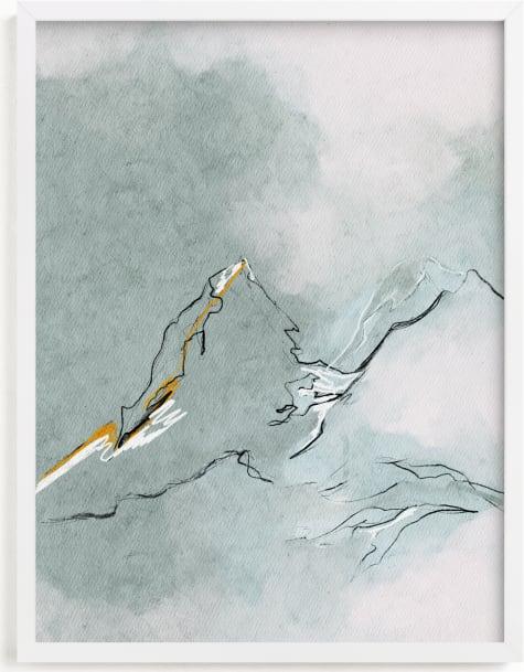 This is a blue art by Shraddha Dharia called Cloud Mountains.