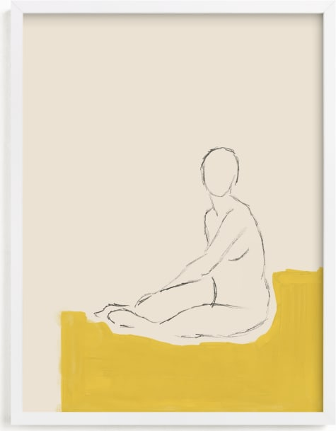This is a ivory art by Annie Clark called Figure on Yellow.