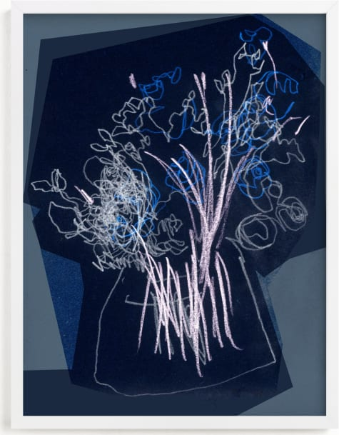 This is a blue art by Bethania Lima called An attempt on gestural drawing.