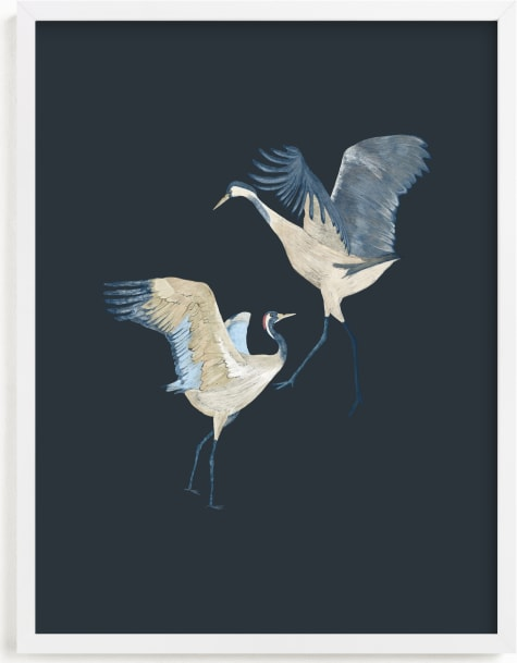 This is a blue art by Nina Leth called Crane dance.