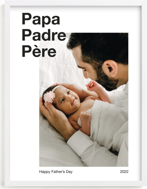 This is a white photo art by JoAnn Jinks called Trilingual Dad.