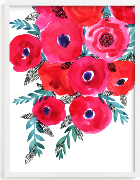 This is a colorful art by Alexandra Dzh called Red flowers bouquet.