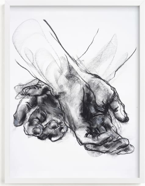 This is a black and white art by Derek overfield called Drawing 561 - Crossed Hands.