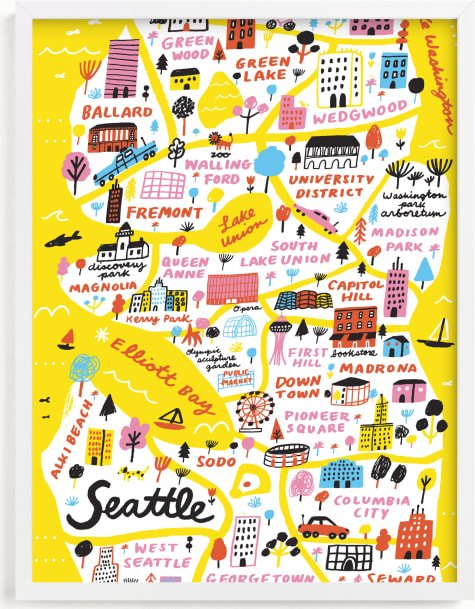 This is a colorful art by Jordan Sondler called I Love Seattle.