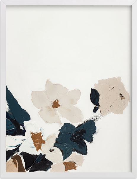 This is a blue art by Caryn Owen called Abstract Botanical Floral Diptych I.