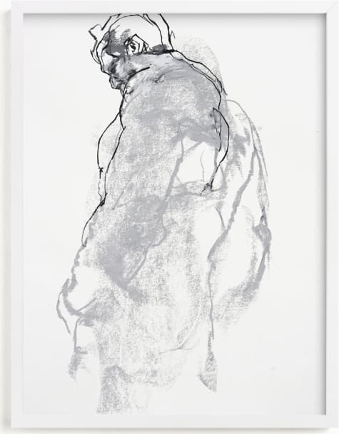 This is a black and white art by Derek overfield called Drawing 357 - Figure from the Side.