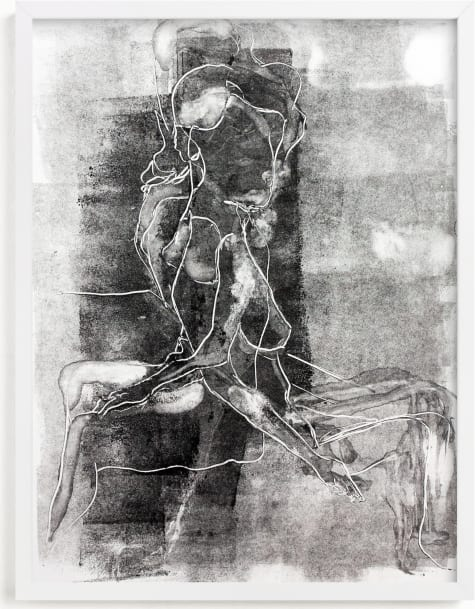 This is a black and white art by Allison Belolan called Figure on Figure.