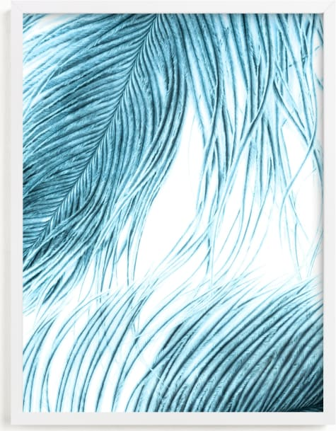 This is a blue art by Debra Pruskowski called Fine Feathered I.