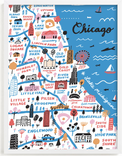 This is a blue art by Jordan Sondler called I Love Chicago.