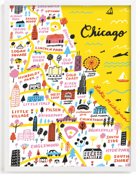 This is a colorful art by Jordan Sondler called I Love Chicago.