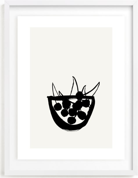 This is a black and white art by Sonya Percival called Life is a bowl of cherries.