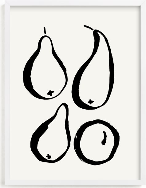 This is a black and white art by Sonya Percival called Still-life with four pears.
