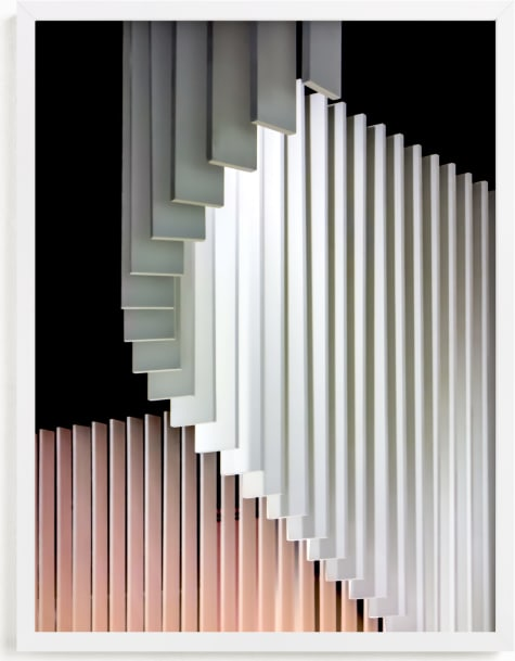 This is a white art by Lisa Sundin called Stacked Curvature .