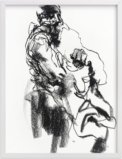 This is a black and white art by Derek overfield called Drawing 469 - Draped Figure.