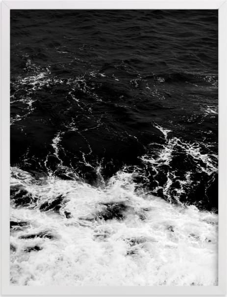 This is a black and white art by Kamala Nahas called Obsidian Sea.