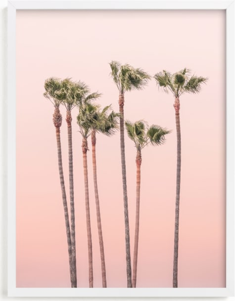 This is a pink art by Lisa Sundin called Seven Palmtrees.