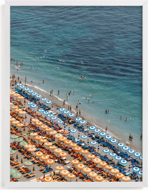 This is a blue art by braden.studio called Positano Beach Aerial.