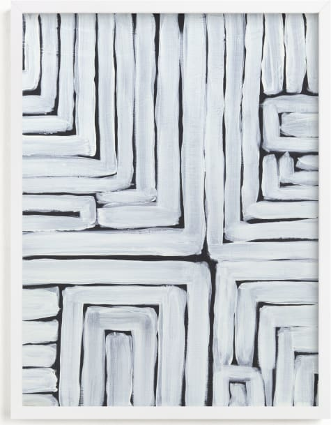 This is a black and white art by Lauren Rutley called GPS White Stripes and Black Lines.